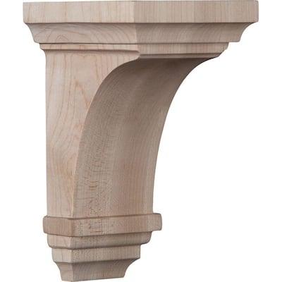 3-1/2 in. x 6 in. x 3-3/4 in. Rubberwood Mini Jefferson Wood Corbel