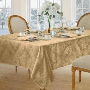 60 in. W x 120 in. L Gold Barcelona Damask Fabric Tablecloth