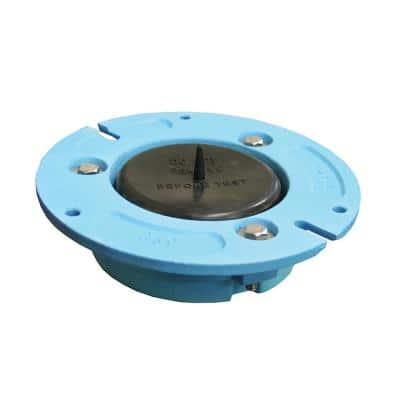 3 in. x 3 in. No Caulk Code Blue Cast Iron Water Closet (Toilet) Flange with Test Cap for Cast Iron or Plastic Pipe