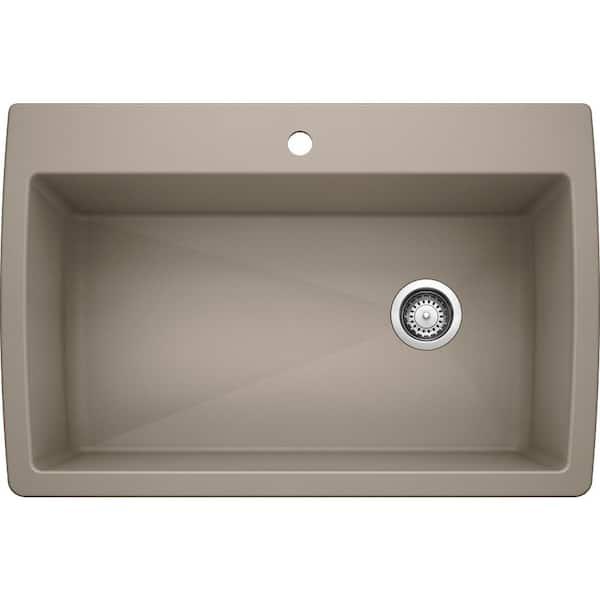 Blanco Diamond Silgranit Dual Mount Granite Composite 33 5 In 1 Hole Single Bowl Kitchen Sink Truffle 441287 The Home Depot