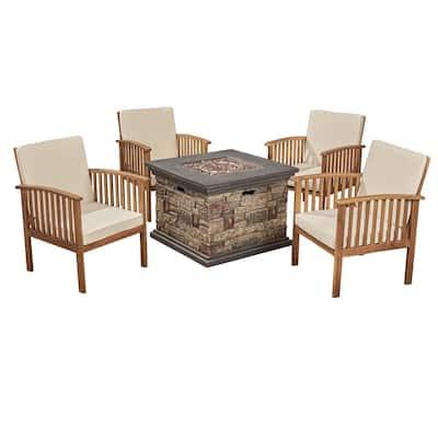 Carolina Brown Patina 5-Piece Wood Patio Fire Pit Conversation Set with Cream Cushions