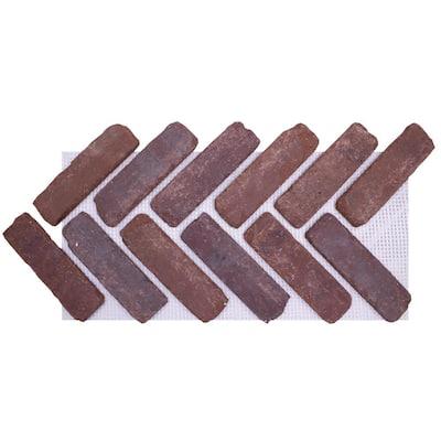 28 in. x 12.5 in. x 1/2 in. (8.7 sq. ft.) Brickwebb Herringbone Boston Mill Thin Brick Sheets (Box of 5-Sheets)