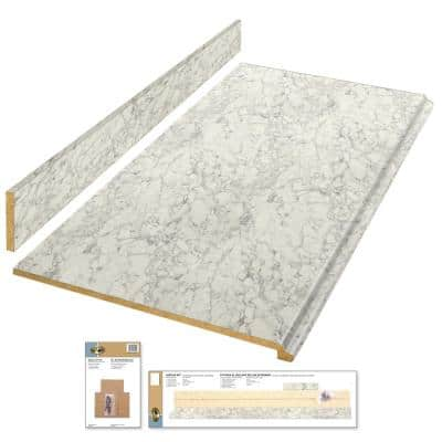 4 ft. White Laminate Countertop Kit with Full Wrap Ogee Edge in Marmo Bianco Marble