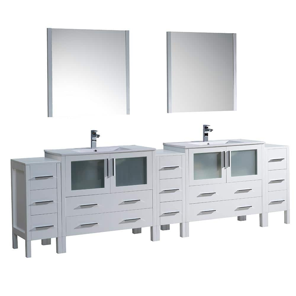 Fresca Torino 108 In Double Vanity In White With Ceramic Vanity Top In White With White Basins And Mirrors Fvn62 108wh Uns The Home Depot