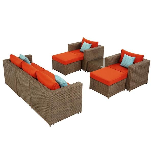 Direct Wicker Jelly Brown 8 Piece Resin, Polyethylene Wicker Patio Furniture