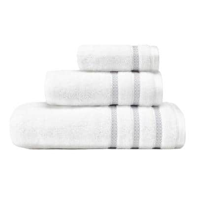 Textured Trellis Grey Cotton 3-Piece Towel Set
