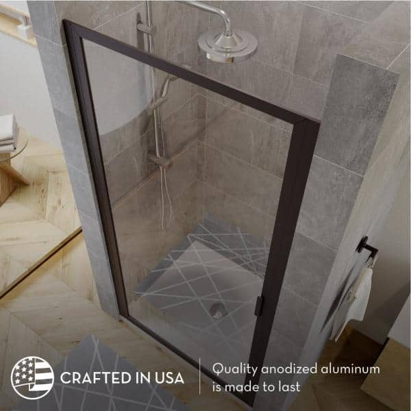Coastal Shower Doors Paragon 34 In To 34 75 In X 70 In Framed Pivot Shower Door In Matte Black With Clear Glass P34 70o C The Home Depot