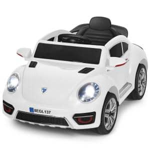 Kids Battery Powered Vehicle 3-Speed RC Electric Ride On Car with LED Light in White
