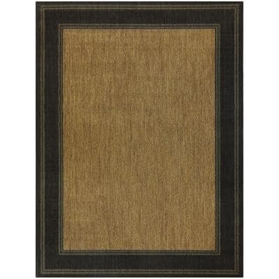 Brown with Black Border 5 ft. x 7 ft. Indoor/Outdoor Area Rug