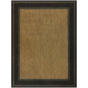 Brown with Black Border 9 ft. x 12 ft. Indoor/Outdoor Area Rug