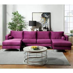 1 Piece Purple Velvet 4 Seats U-Shape Reversible Sectionals with Two Pillows
