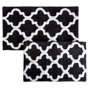 Trellis Black 24.5 in. x 41 in. 2-Piece Mat Set