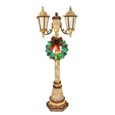 72 in. Gold/Green Lighted Lamp Post with 35 Twinkling Lights