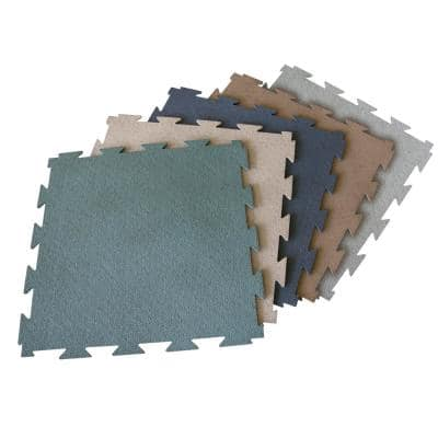 Terra-Flex 1/4 in. x 24 in. x 24 in. Green Interlocking Rubber Mat (5-Pack, 20 sq. ft.)