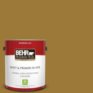 Behr Premium Plus 1 Gal M300 7 Persian Gold Flat Low Odor Interior Paint And Primer In One 130001 The Home Depot