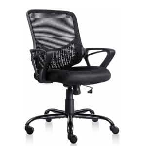 24 in. Width Big and Tall Black Mesh Task Chair with Adjustable Height