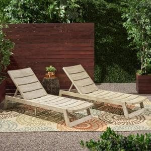 Maki Grey Wash 2-Piece Wood and Metal Outdoor Chaise Lounges