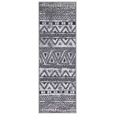 "Ottohome Collection Mordern Moroccan Design Runner Rug, 20"" X 59"", Gray"