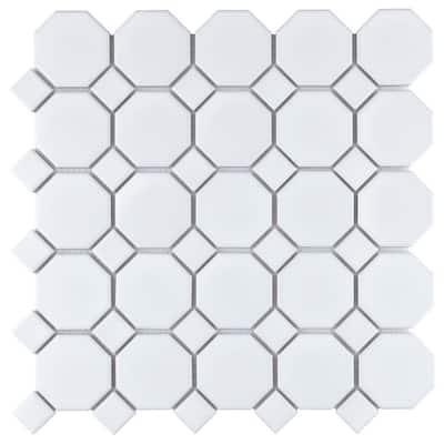 Metro Octagon Matte White w/White Dot 11-1/2 in. x 11-1/2 in. Porcelain Mosaic (9.38 sq. ft. /Case)