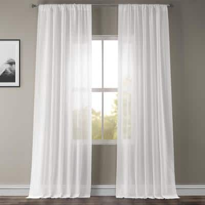 White Orchid Solid Rod Pocket Sheer Curtain - 50 in. W x 96 in. L