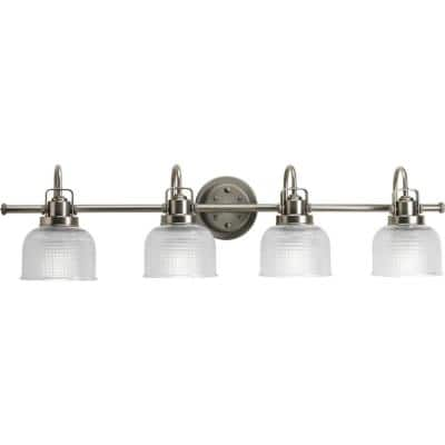 Archie Collection 4-Light Antique Nickel Clear Double Prismatic Glass Coastal Bath Vanity Light