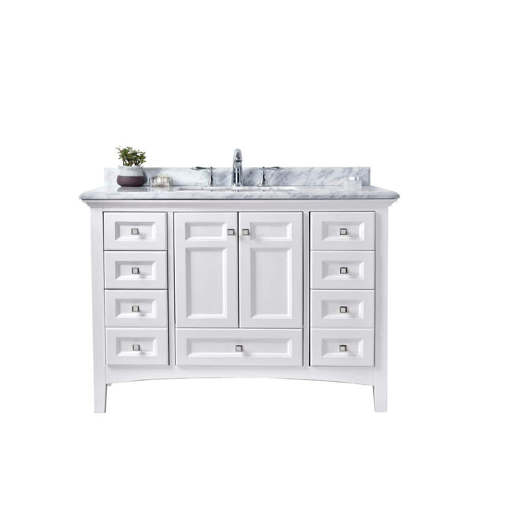 Ari Kitchen And Bath Luz 42 In Single Bath Vanity In White With Marble Vanity Top In Carrara White With White Basin Akb Luz 42 Wht The Home Depot