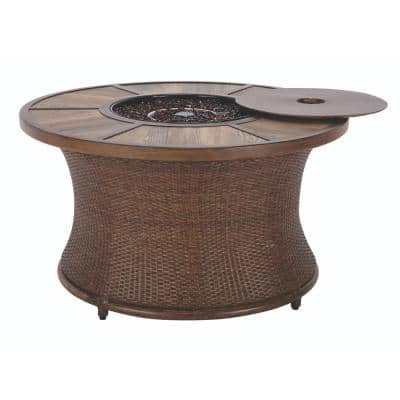 Port Elizabeth 23.5 in. Grouted Porcelain Fire Pit in Brown with Alum Rim