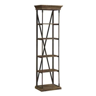 86.5 in. Corbin Medium Brown Metal 5-shelf Etagere Bookcase with Open Back