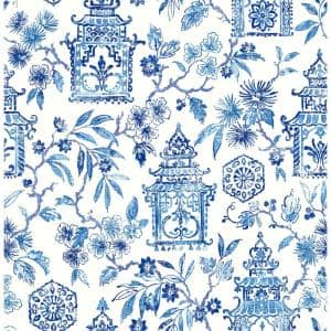 Blue Danson Peel and Stick Wallpaper Sample