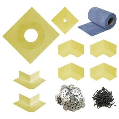 """Durabase 10""""X10""""X0.1"""" WP Complete Waterproofing Sealing Kit for Shower and Backer Board Underlayment"""