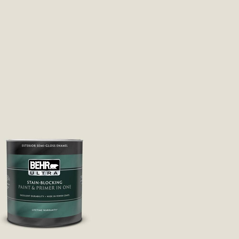 Behr Ultra 1 Qt T18 09 Soft Focus Semi Gloss Enamel Exterior Paint And Primer In One 585004 The Home Depot