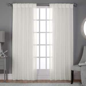 Snowflake Linen Pinch Pleat Sheer Curtain - 30 in. W x 84 in. L (Set of 2)