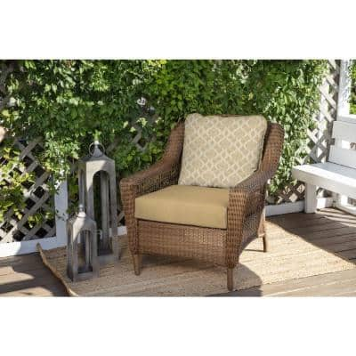 24 in. x 22 in. CushionGuard 2-Piece Deep Seating Outdoor Lounge Chair Cushion in Almond Biscotti Trellis