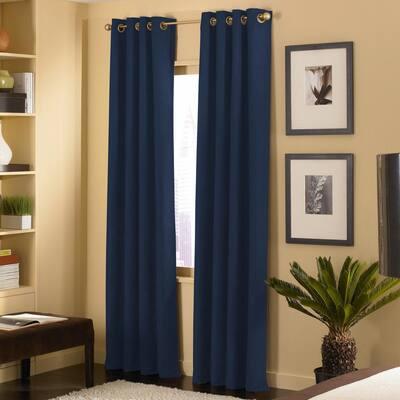 Navy Solid Grommet Room Darkening Curtain - 50 in. W x 144 in. L