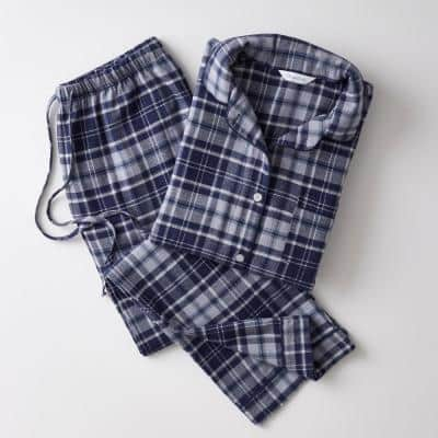 Family Flannel Company Cotton Women's XXL Pajama Set in Navy Plaid
