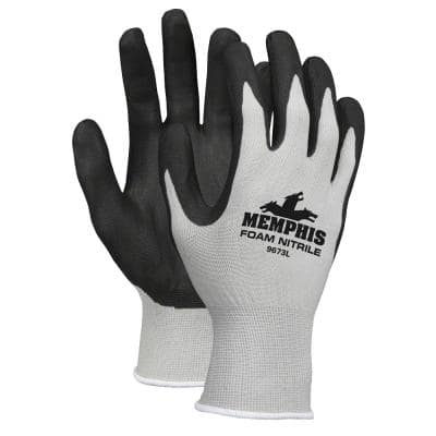Shell Lined Gray/Black/White Nitrile Palm Protective Multi-Purpose Gloves (6-Pair)