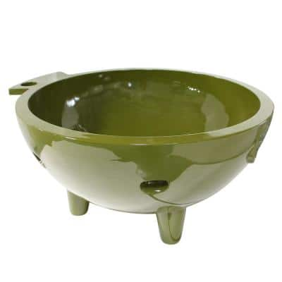FireHotTub-OG 4-Persons 63 in. Acrylic Flatbottom Bathtub in Olive Green
