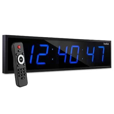 "36"" Large Oversized Wall Mounted LED Digital Clock Time Bar - Blue"