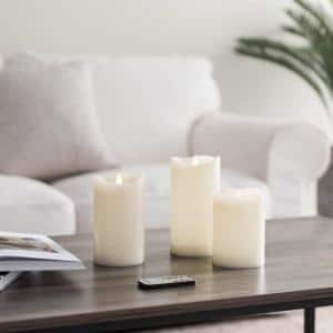 Classic Ivory LED Flameless Pillar Candles (Set of 3)