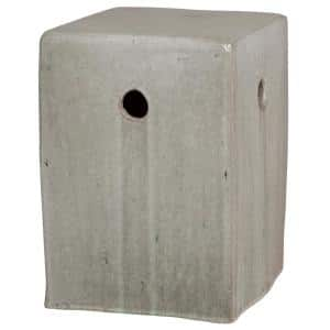 Square Gray Ceramic Garden Stool