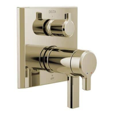 Pivotal 2-Handle Wall-Mount Valve Trim Kit with 3-Setting Integrated Diverter in Polished Nickel (Valve not Included)