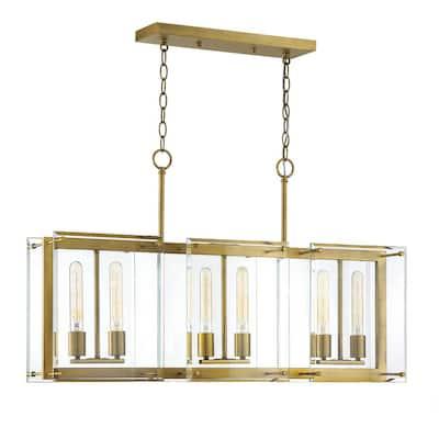 6-Light Warm Brass Chandelier with Clear Glass