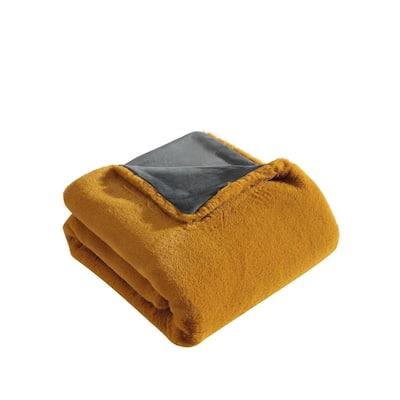 Lapin Deep Orange Plush Microfiber Throw Blanket