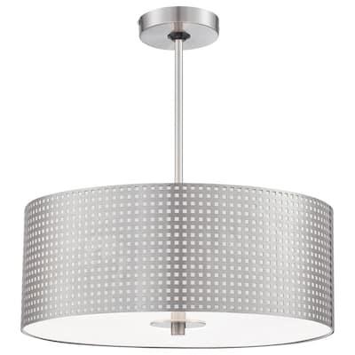 Grid 3-Light Brushed Nickel Pendant