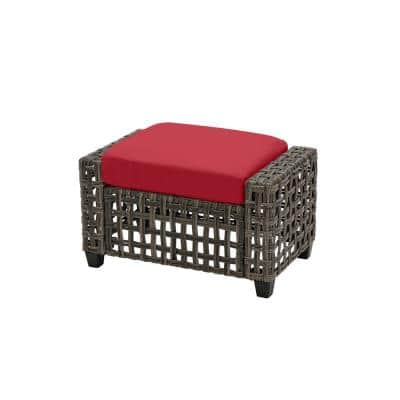 Briar Ridge Brown Wicker Outdoor Patio Ottoman with CushionGuard Chili Red Cushions
