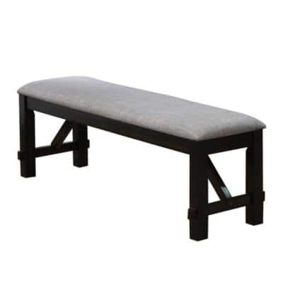 20 in. Black and Light Gray Dual Tone Fabric Upholstered Bench with Block Legs