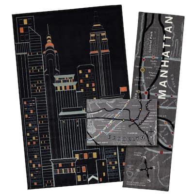 New York City Black 5 ft. x 8 ft. 3-Piece Indoor Rug Set
