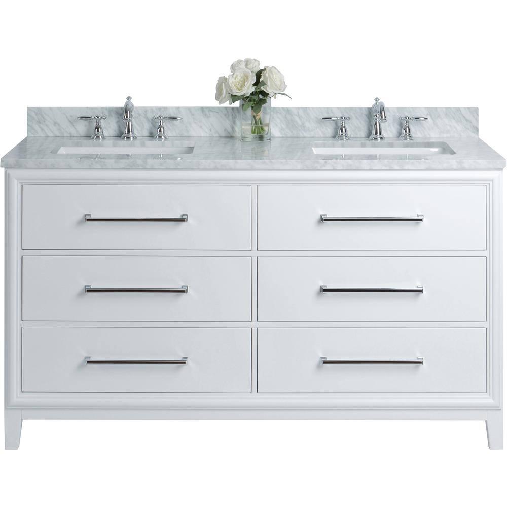 Ancerre Designs Ellie 60 In W X 22 In D Vanity In White With Marble Vanity Top In White With White Basin Vts Ellie 60 W Cw The Home Depot