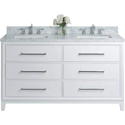 Ellie 60 in. W x 22 in. D Vanity in White with Marble Vanity Top in White with White Basin