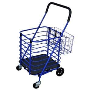 Steel Shopping Cart in Blue with Accessory Basket